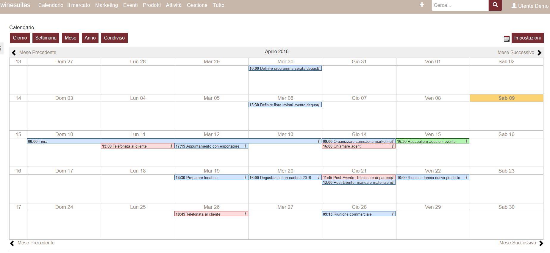 Winesuites - Condivisione dei calendari