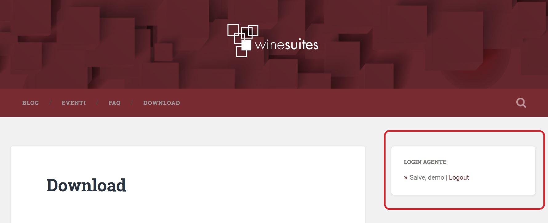 Winesuites - Gestione Area Riservata
