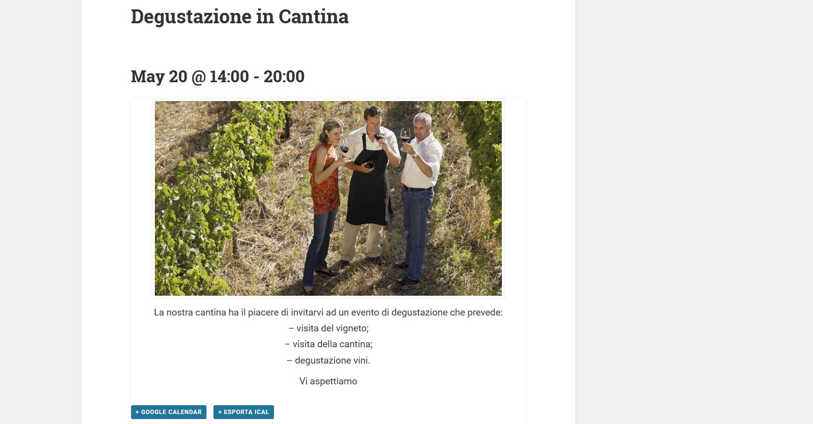 Winesuites - Pubblicazione di Eventi e News